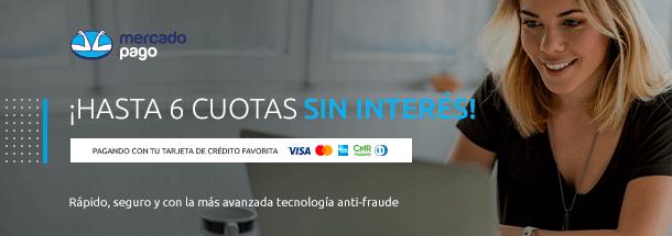 Hasta 6 cuotas sin interés con MercadoPago